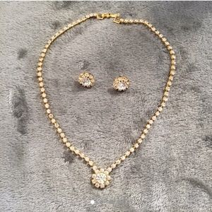 GOLD AND (NOT REAL) DIAMOND NECKLACE & EARRING SET